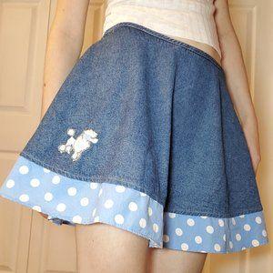 50's inspired poodle skirt circle polka dots denim mini skort / skirt + shorts